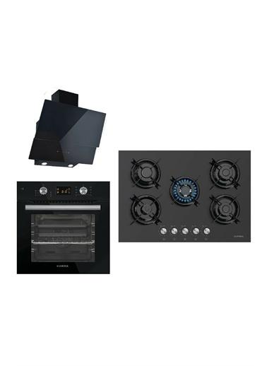Luxell Luxell Ddt Siyah Dokunmatik 8 Prog. Dijital Ankastre Set (5 Gözlü Ocak + 8Prg. Fırın + Kumandalı Dav.) Siyah